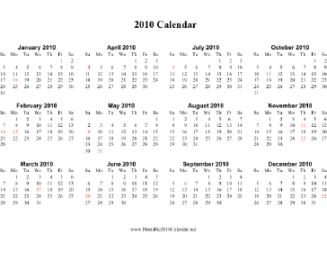 2010 Calendar (horizontal, descending, holidays in red) Calendar