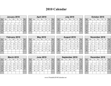 2010 Calendar on one page (horizontal, shaded weekends) Calendar