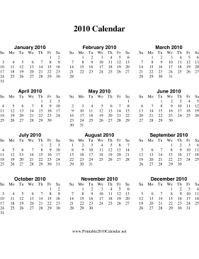 2010 Calendar on one page (vertical) Calendar