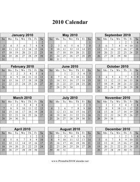 2010 Calendar on one page (vertical, shaded weekends) Calendar