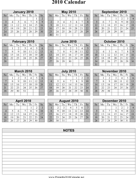 2010 Calendar on one page (vertical, shaded weekends, notes) Calendar