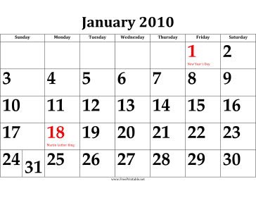 2010 Calendar with Large Dates Calendar